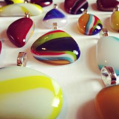 Fused glass Puddle Pendants. By Bryan Burgin.