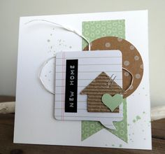 A quick card with my new favorite color: mint green. - A quick card with my new favorite color: mint green. And although it was a quick ticket, I made it - Welcome Home Cards, New Home Cards, House Of Cards, Paper Cards, Diy Cards, Housewarming Card, Some Cards, Marianne Design, Card Tags