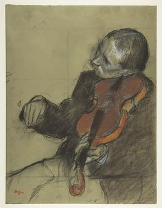 "1878-1879 Edgar Degas | Violinist, Study for ""The Dance Lesson"" Medium: Pastel and charcoal on green wove paper; squared for transfer in charcoal; letterpress printing on verso"