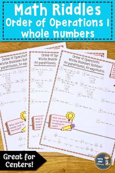 Order of Operations 1 Math with Riddles Distance Learning Math Math Games For Kids, Fun Math Activities, Math Stations, Math Centers, Fifth Grade Math, Sixth Grade, Math Challenge, Math Graphic Organizers, Order Of Operations