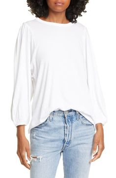 Voluminous pleated sleeves make this cotton T-shirt a stylish alternative to your usual staples. The Pleat Sleeve T-Shirt. Style Number: Available in stores. The Great Clothing, Ball Skirt, Ribbed Sweater, Super Skinny Jeans, Tshirts Online, Nordstrom, Clothes For Women, Sleeves, T Shirt