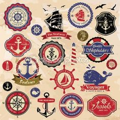 Collection of vintage retro nautical labels, badges and icons by catherinechin - Stock Vector