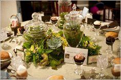 moss apothecary jar centerpiece rustic woodland elegance wedding floral http://sophisticatedfloral.com/