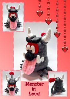 Hallo, hier kommt mal ein Monster, das zwar etwas böse aussieht, aber eigentlich ganz lieb ist! Die Anleitung besteht aus 28 Seiten und ist detailliert beschrieben und mit vielen hilfreichen Fotos versehen. Monster in Love ist ca. 25 cm hoch. Kenntnisse