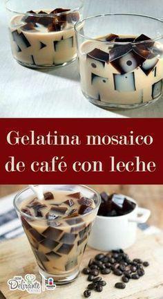 Esta gelatina de café mosaico tiene un increíble sabor y la textura es cremosa y suave, ¡te encantará! Gelatin Recipes, Jello Recipes, Mexican Food Recipes, Sweet Recipes, Dessert Recipes, Jello Desserts, Delicious Desserts, Yummy Food, Un Cake