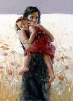 Portrait paintings Female Mother and Kid Femme Enfant by Pino Daeni Art beautiful woman Home Decor hand painted high quality Romantic Woman, Illustration Art, Illustrations, Portraits, Mothers Love, Mother And Child, Beautiful Paintings, Love Art, Painting & Drawing