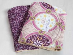 Girl Burp Cloth Set of 2 Blue and Purple Gem Minky Dot on Etsy, $18.00