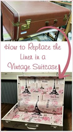 diy projects with vintage suitcase,diy-projekte mit vintage-koffer, Vintage Suitcases, Vintage Luggage, Vintage Suitcase Decor, Vintage Trunks, Diy Projects Vintage, Vintage Diy, Vintage Market, Vintage Stuff, Vintage Heart