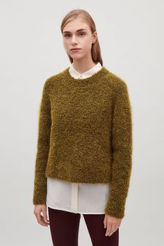 COS image 2 of Textured wool and mohair jumper in Khaki green