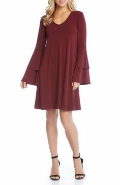 Main Image - Karen Kane Tiered Bell Sleeve A-Line Dress