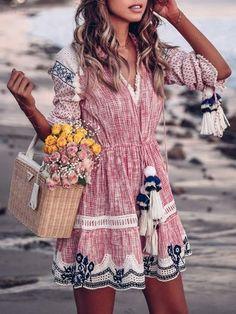 8245756e217 JustFashionNow Plus Size Crew Neck Women Summer Dress A-line Daytime Dress  Cold Shoulder Elegant