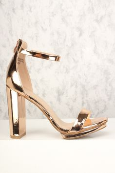 c27065f0155 Sexy Rose Gold Ankle Strap Open Toe Single Sole Chunky Heels Patent