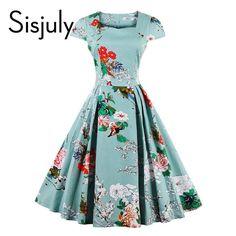 Sisjuly floral print vintage dress blue luxury party dresses style 1950s retro…