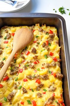 Breakfast Casserole with Eggs, Potatoes and Sausage