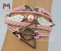 Pink charm informers and harry potter infinity bracelet by cutowl, $5.99