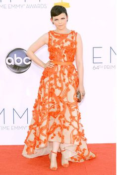 Monique Lhuillier in attention-grabbing orange worked for Ginnifer Goodwin at the 2012 Emmys