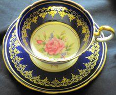 AYNSLEY DORIS PINK ROSE CENTER TEA CUP AND SAUCER COBALT BLUE #AynsleychinaEngland
