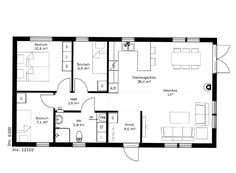 Borohus andra Näset, Planlösning Barn Style House Plans, Compact Living, Tiny House, Villa, Floor Plans, How To Plan, Architecture, Cottages, Houses