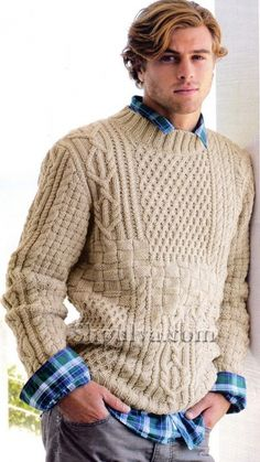 Бежевый пуловер с ирландским узором, вязаный спицами
