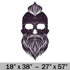 Skull with Beard Premium Vinyl Decal