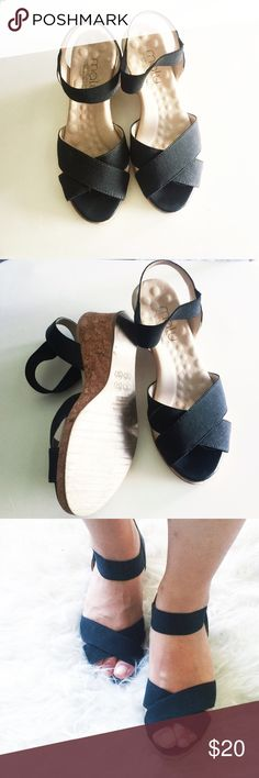 "Malu super soft sole sandal wedges The sole is super soft. You can wear them hours and hours, no uncomfortable feelings. Upper: fabric mixed with leather. Lining: leather. US 5, fitting like 6. I am usually US 6. These sandals fit me. Wore twice, in perfect condition. Heel: 2.7"" Malu Shoes Sandals"