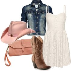 The best outfit. Loose the pink hat turn it into a ball cap loose the jean jacket make the dress strapless and get actual boots. No purse needed.