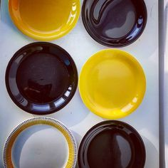 """Polubienia: 11, komentarze: 0 – modern (@modern_old2new) na Instagramie: """"Pottery set of 6 plates made in Norway by Inger Waage in 60s in Stavangerflint. 1 plates decor…"""" Norway, Scandinavian, Pottery, Plates, Tableware, Modern, How To Make, Decor, Weighing Scale"""