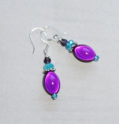 Violet Purple Miracle Bead and Czech Crystal Dangle Earrings w/925 Silver Hooks