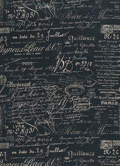 Script Blueprint - document French laundry script fabric $19.95/yd