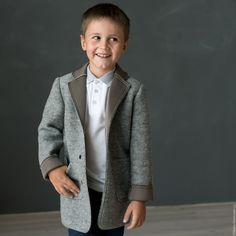 Купить Шерстяной жакет для мальчика - серый, одежда для мальчика, школьная…
