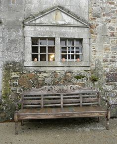 ✣ French Country Farmhouse ✣  Rustic French bench - (brick detail on left for painting, gorgeous texture)