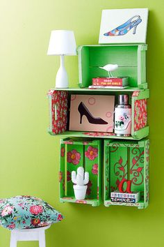 Caixote de madeira com estêncil / DIY, Craft, Upcycle