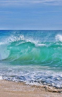 A wave breaks near shore in the ocean surf. Open Water, Water Crafts, Sailing, Waves, Boat, Ocean, Ships, Life, Outdoor