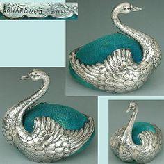 Antique Gilt Metal Swan Pin Cushion