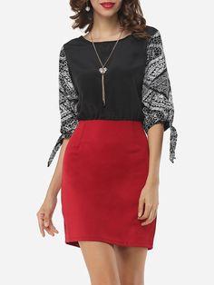 Round Neck Dacron Color Block Bodycon Dress