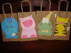 tela, papel y tijera: Bolsas para cumpleaños