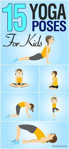 15 Best Yoga Poses For Kids : Yoga for kids helps improve concentration and strength in them. MomJunction gives you a list of yoga poses that your kids can do and benefit. Poses Yoga Enfants, Kids Yoga Poses, Cool Yoga Poses, Yoga For Kids, Exercise For Kids, Stretches For Kids, Kid Yoga, Toddler Yoga, Kids Workout