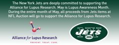 The New York Jets are deeply committed to supporting the Alliance for Lupus Research.  During the entire month of May, all proceeds from Jets items at NFL Auction will support the ALR.