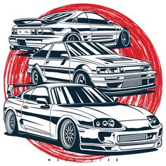 Toyota Mr2, Toyota Supra, Conceptual Drawing, Street Racing Cars, Ae86, Car Illustration, Car Logos, Car Drawings, Top Cars