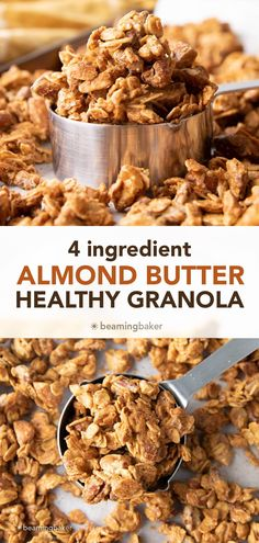 4 Ingredient Almond Butter Granola: this super easy almond butter granola recipe calls for just 4 ingredients and a few mins of prep! Healthy almond butter granola was never so easy! #AlmondButter #Granola #Healthy #Recipe   Recipe at BeamingBaker.com Vegan Gluten Free Desserts, Coconut Desserts, Healthy Dessert Recipes, Healthy Baking, Healthy Snacks, Breakfast Recipes, Vegan Recipes, Low Calorie Granola, Peanut Butter Snacks