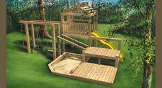© Planimage - Ce jeu en bois sur trois niveaux accueillera vos enfants cet été. On y retrouve une balancoire, une corde avec noeuds, une balançoire avec pneu, une échelle en corde, une glissade et un carré de sable.