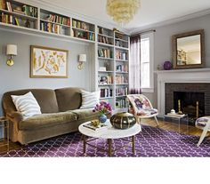 Love love love these bookshelves, with the couch set in.