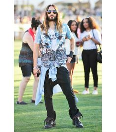 @Who What Wear - Jared Leto                 On Leto: Zadig & Voltaire Joe Boots ($429)  Get The Look:7 Diamonds Diamond Head Print Short Sleeve Sport Shirt ($69); Asos Drop Crotch Sweatpants With Quilting ($56) in Black.