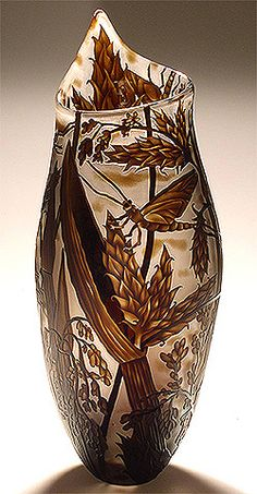 "Glass Art, Mary Mullaney, Heron Glass, ""Mayflies on Bulrush"", Sand Carved and Engraved Vessel, 19"" Height"