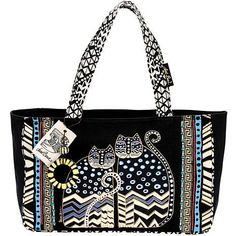 Medium Spotted Cats Tote with Zipper - 6907674 | HSN