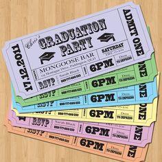 Graduation Party Invitations - Vintage Ticket Style DIY Set (printable). $12.50, via Etsy.                                                                                                                                                                                 Más