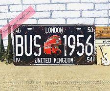 Vintage Car License Plate Tin Sign Decor Metal Bar Garage Poster London Bus