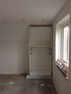 I needed the wall with the sloped ceiling for my closet. I mod the IKEA PAX wardrobe for sloping ceiling and close up the wall as well. Ikea Built In Wardrobes, Ikea Pax Wardrobe, Closet Built Ins, Ikea Closet Hack, Pax Closet, Closet Bedroom, Closets, Closet Hacks, Upstairs Bedroom