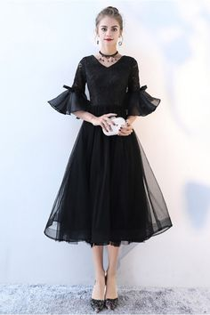 5bc573f935507 Lace Vneck Tulle Black Homecoming Dress with Trumpet Sleeves -  76.5   BLS86040 - SheProm.com