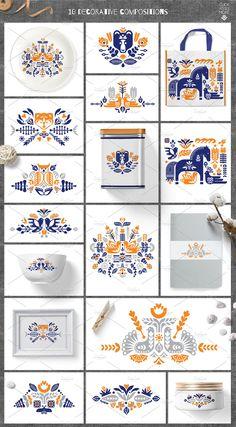 by Ivanna-Ivashka on Folk kit. by Ivanna-Ivashka on Surface Pattern Design, Pattern Art, Print Patterns, Scandinavian Pattern, Scandinavian Folk Art, Stencil, Collections Of Objects, Motif Floral, Pattern Illustration